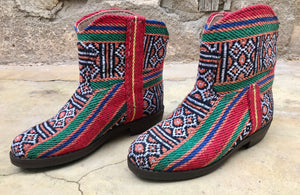 Moroccan Carpet Boot, Orange with Red, White and Green Design