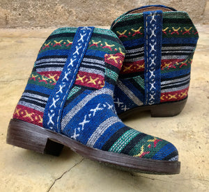 Moroccan Carpet Boot, Blue with Red, Green, and White Design
