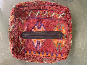 Upcycled Moroccan Pouf: Red Rug 2