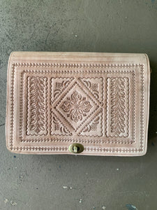Moroccan Leather Purse: Tan Square