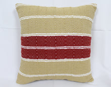 Load image into Gallery viewer, Small Square Throw Pillow- Tan with Red Center