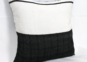 Small Square Throw Pillow- Black and White Halves