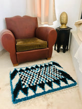 Load image into Gallery viewer, Maslouhi Original Accent Rug- Black, White, Blue with Checkered Pattern