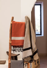 Load image into Gallery viewer, Oversized Scarf- Black Base, Bronze with White Stripe