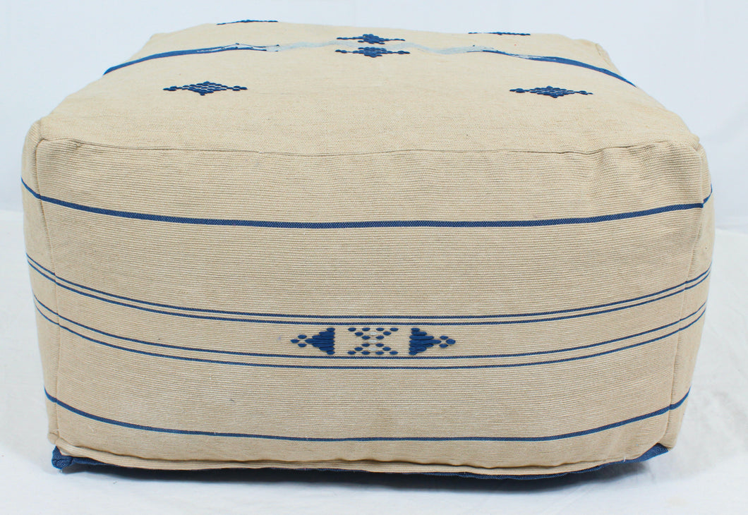 Large Loom Pouf- Beige with Blue Hand Stitched Designs