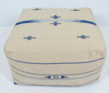 Load image into Gallery viewer, Large Loom Pouf- Beige with Blue Hand Stitched Designs
