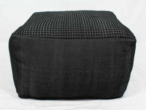 Large Loom Pouf- Black Design