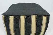 Load image into Gallery viewer, Large Loom Pouf- Black and Tan Stripes