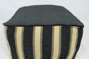 Large Loom Pouf- Black and Tan Stripes