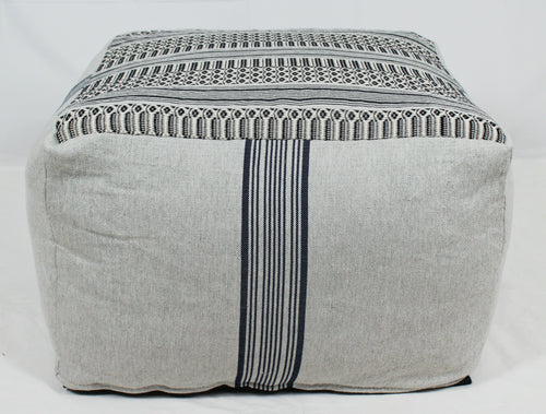 Large Loom Pouf- Grey with Navy Stripes