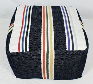 Large Loom Pouf- Navy and Beige Stripes