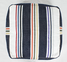 Load image into Gallery viewer, Large Loom Pouf- Navy and Beige Stripes