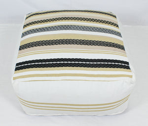 Large Loom Pouf- Tan and Beige Stripes