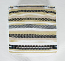 Load image into Gallery viewer, Large Loom Pouf- Tan and Beige Stripes