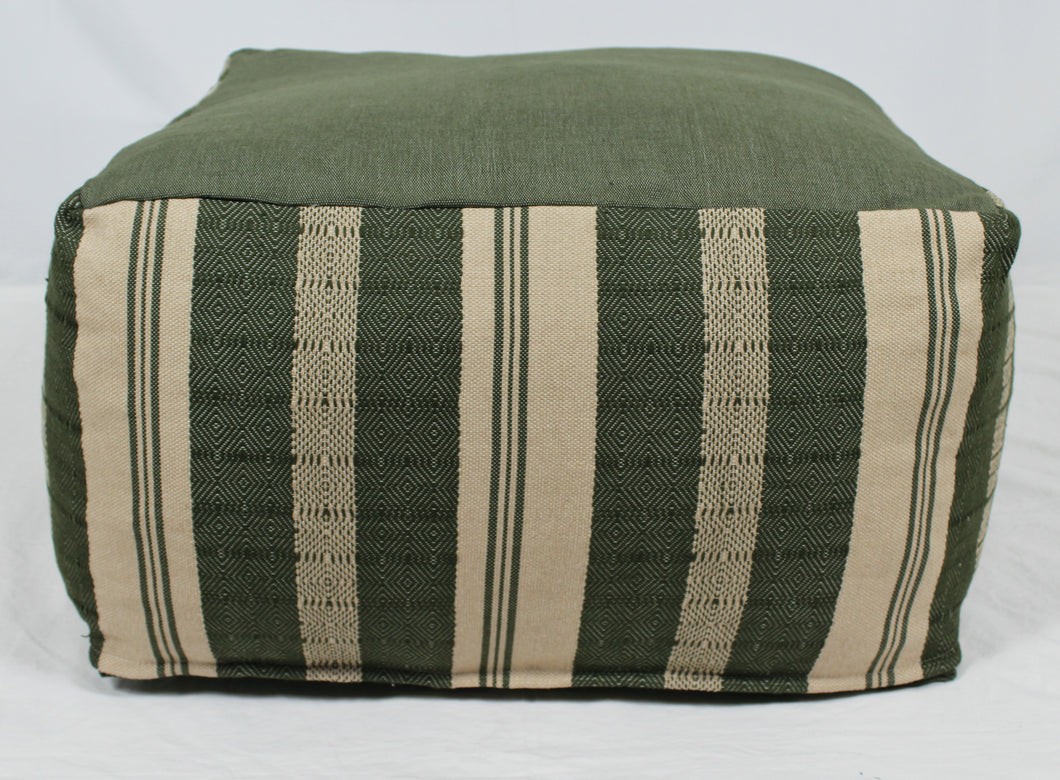 Large Loom Pouf- Green and Beige Stripes