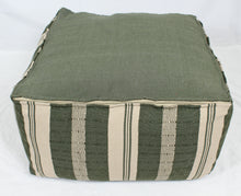 Load image into Gallery viewer, Large Loom Pouf- Green and Beige Stripes