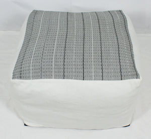 Large Loom Pouf- Grey Design