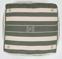 Load image into Gallery viewer, Large Loom Pouf- Beige and Green Hand Stitched Designs