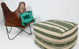 Large Loom Pouf- Beige and Green Hand Stitched Designs