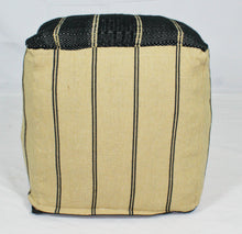 Load image into Gallery viewer, Small Loom Pouf- Black and Tan Stripes