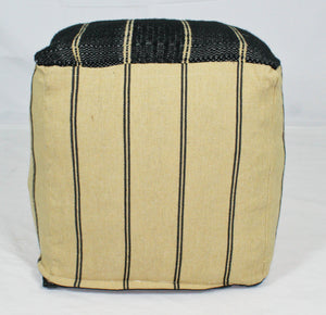 Small Loom Pouf- Black and Tan Stripes