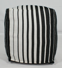 Load image into Gallery viewer, Small Loom Pouf- Black, Grey, White Ombre