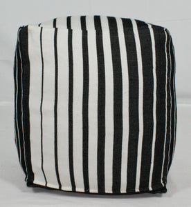 Small Loom Pouf- Black, Grey, White Ombre