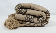 Load image into Gallery viewer, Wool Design Pom Pom Blanket- Beige and Dark Grey with Beige Pom Poms