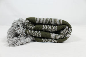 Wool Design Pom Pom Blanket- Olive Green and Grey with Grey Pom Poms