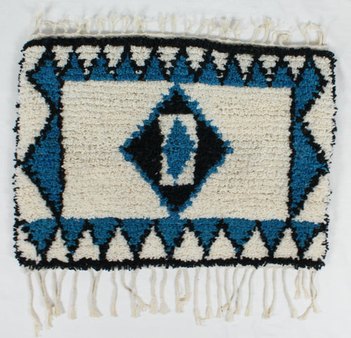Maslouhi Original Accent Rug- Black, White, Blue with Center Diamond Design