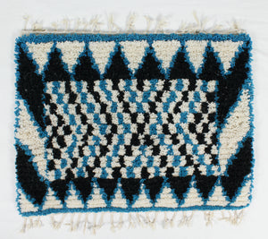 Maslouhi Original Accent Rug- Black, White, Blue with Checkered Pattern