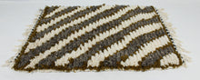 Load image into Gallery viewer, Maslouhi Original Accent Rug- White, Grey, Olive Green with Diagonal Design