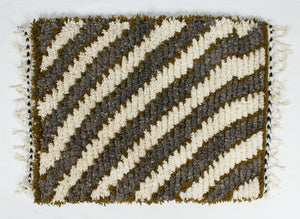 Maslouhi Original Accent Rug- White, Grey, Olive Green with Diagonal Design