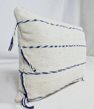 Load image into Gallery viewer, Rectangular Throw Pillow- White with Blue Stripes and Tassels