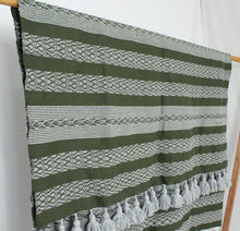 Load image into Gallery viewer, Wool Design Pom Pom Blanket- Olive Green and Grey with Grey Pom Poms