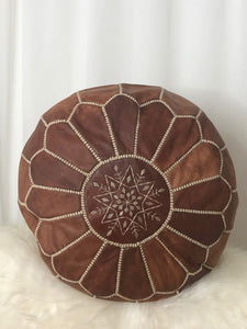 Leather Pouf- Round Light Brown with Ivory Stitching
