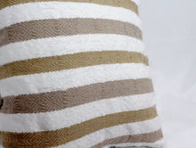 Load image into Gallery viewer, Small Square Throw Pillow- White, Tan and Beige Stripes