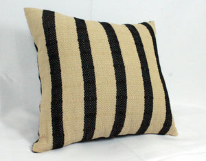 Small Square Throw Pillow- Black and Tan Stripes