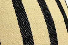 Load image into Gallery viewer, Small Square Throw Pillow- Black and Tan Stripes