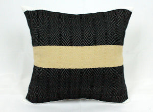 Small Square Throw Pillow- Black with Tan Center Stripe