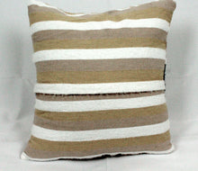 Load image into Gallery viewer, Small Square Throw Pillow- Tan and Beige with Black Center