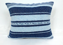 Load image into Gallery viewer, Small Square Throw Pillow- Blue and Baby Blue Strips