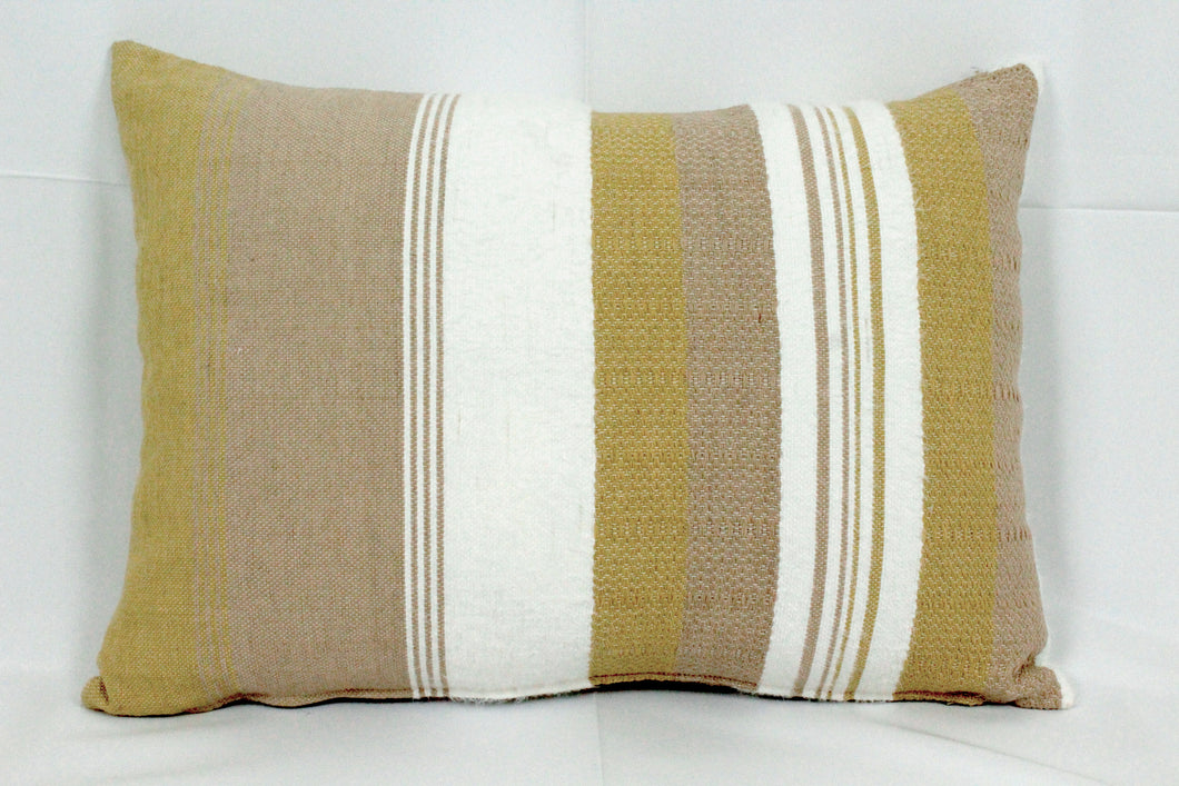 Rectangular Throw Pillow- White and Tan Design