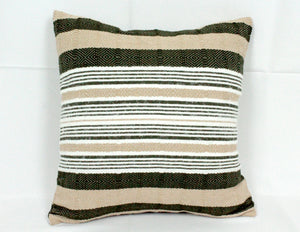 Small Square Throw Pillow- Green, White and Tan Stripes