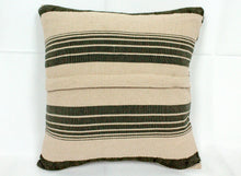 Load image into Gallery viewer, Small Square Throw Pillow- Green, White and Tan Stripes
