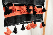 Load image into Gallery viewer, Wool Striped Pom Pom Blanket- Orange and Black with Orange and Black Pom Poms