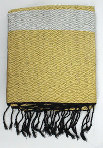 Oversized Scarf- Black Base, Yellow with White Stripe