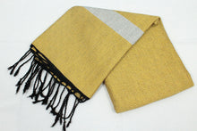 Load image into Gallery viewer, Oversized Scarf- Black Base, Yellow with White Stripe