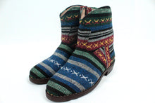 Load image into Gallery viewer, Moroccan Carpet Boot, Blue with Red, Green, and White Design