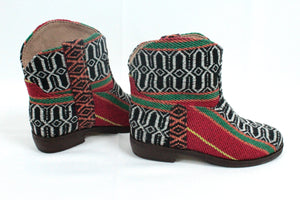 Moroccan Carpet Boot, Black with White and Red Design